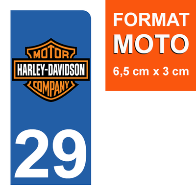 1 sticker pour plaque d'immatriculation MOTO , 29 Finistere, Harley Davidson