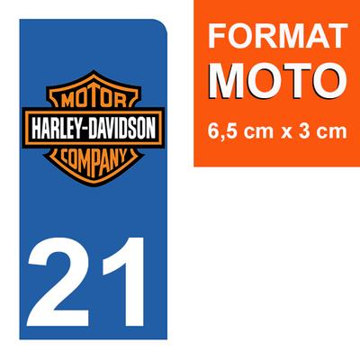 1 sticker pour plaque d'immatriculation MOTO , 21 Côte d'or, Harley Davidson