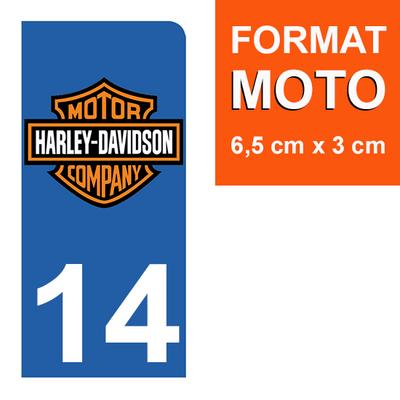 1 sticker pour plaque d'immatriculation MOTO , 14 Calvados, Harley Davidson