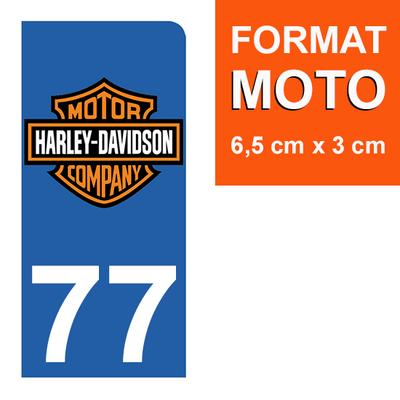 1 sticker pour plaque d'immatriculation MOTO , 77 Seine et Marne, Harley Davidson