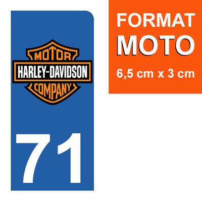 1 sticker pour plaque d'immatriculation MOTO , 71 Saône-et-Loire, Harley Davidson