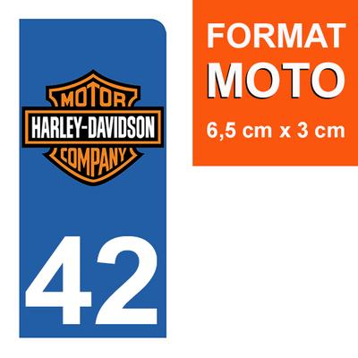 1 sticker pour plaque d'immatriculation MOTO , 42 Loire, Harley Davidson