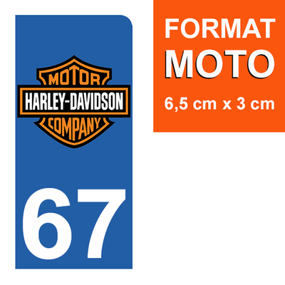 1 sticker pour plaque d'immatriculation MOTO , 67 Bas-Rhin, Harley Davidson