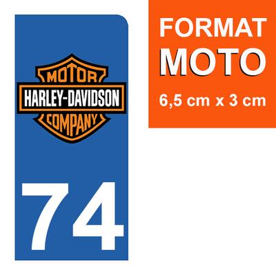 1 sticker pour plaque d'immatriculation MOTO , 74 Haute-Savoie, Harley Davidson