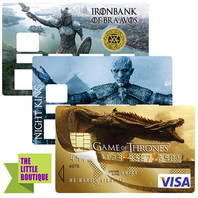 les 3 Stickers pour carte bancaire, hommage à Game of Thrones, Edition limitée 300 ex.