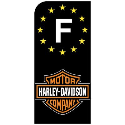 1 sticker pour plaque d'immatriculation MOTO, HARLEY DAVIDSON, noir