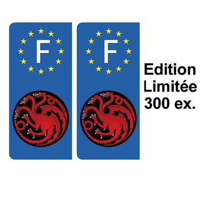 2 stickers pour plaque d'immatriculation, Dragons Targaryen, Edition limitée 300 ex.