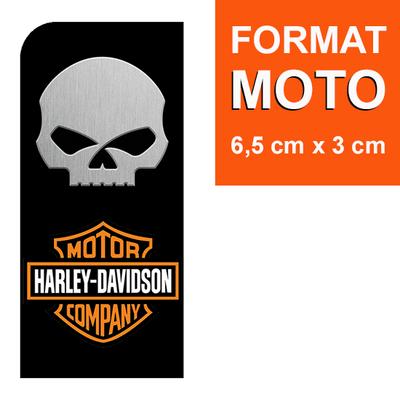 1 sticker pour plaque d'immatriculation MOTO, HARLEY DAVIDSON & SKULL