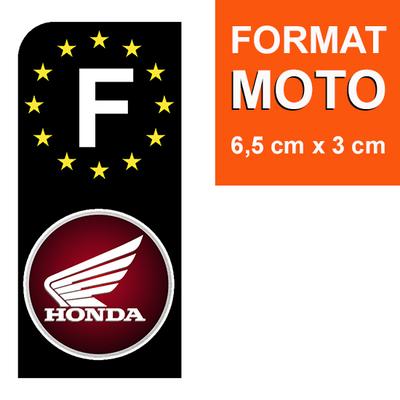 1 sticker pour plaque d'immatriculation MOTO, F - NOIR - HONDA