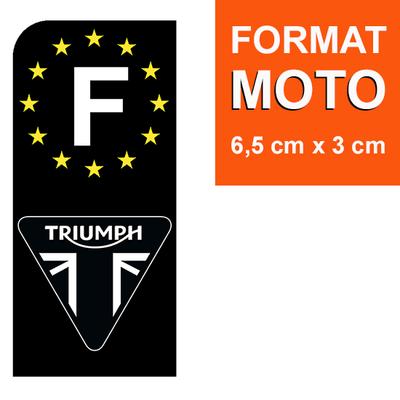 1 sticker pour plaque d'immatriculation MOTO, F - NOIR - TRIUMPH