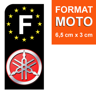 1 sticker pour plaque d'immatriculation MOTO, F - NOIR - YAMAHA