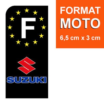 1 sticker pour plaque d'immatriculation MOTO, F - NOIR - SUZUKI