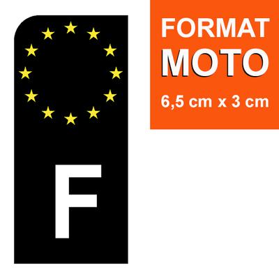 1 sticker pour plaque d'immatriculation MOTO, F - NOIR