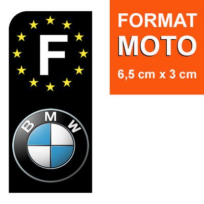 1 sticker pour plaque d'immatriculation MOTO, F - NOIR - BMW