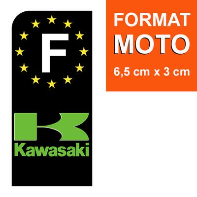 1 sticker pour plaque d'immatriculation MOTO, F - NOIR - KAWASAKI