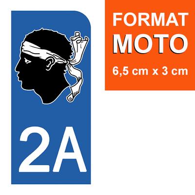 1 sticker pour plaque d'immatriculation MOTO , 2A CORSE