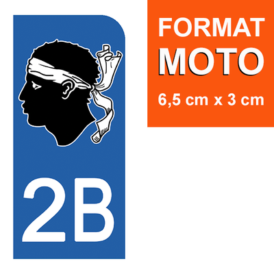 1 sticker pour plaque d'immatriculation MOTO , 2B CORSE
