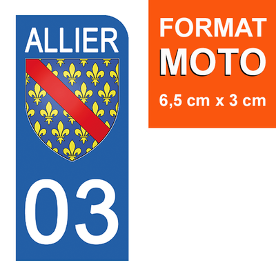 1 sticker pour plaque d'immatriculation MOTO , 03 ALLIER
