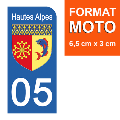 1 sticker pour plaque d'immatriculation MOTO , 05 HAUTES ALPES