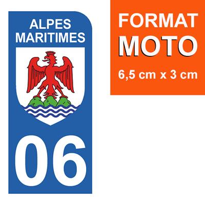1 sticker pour plaque d'immatriculation MOTO , 06 ALPES MARITIMES