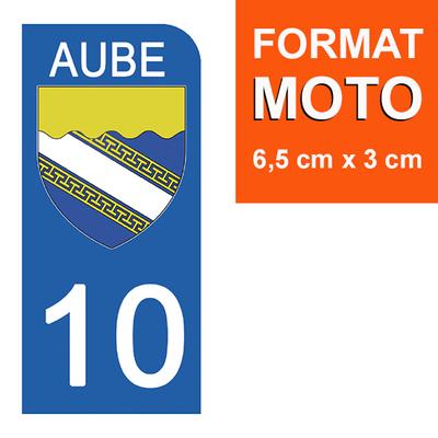 1 sticker pour plaque d'immatriculation MOTO , 10 AUBE