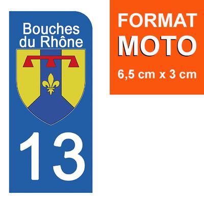 1 sticker pour plaque d'immatriculation MOTO , 13 BOUCHE DU RHONE