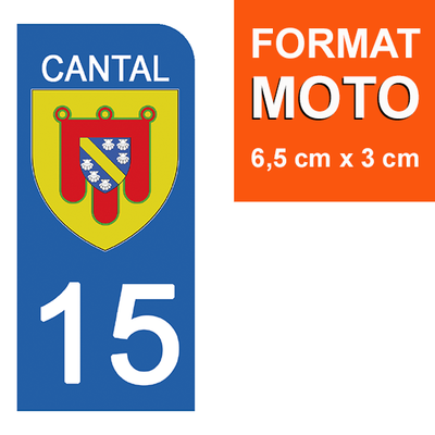 1 sticker pour plaque d'immatriculation MOTO , 15 CANTAL