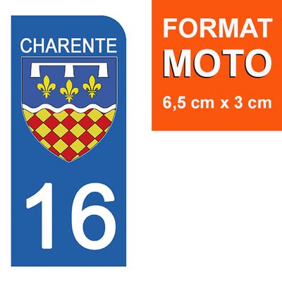 1 sticker pour plaque d'immatriculation MOTO , 16 CHARENTE