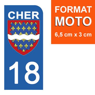 1 sticker pour plaque d'immatriculation MOTO , 18 CHER