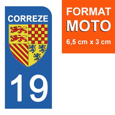 1 sticker pour plaque d'immatriculation MOTO , 19 CORREZE