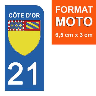 1 sticker pour plaque d'immatriculation MOTO , 21 COTE D'OR