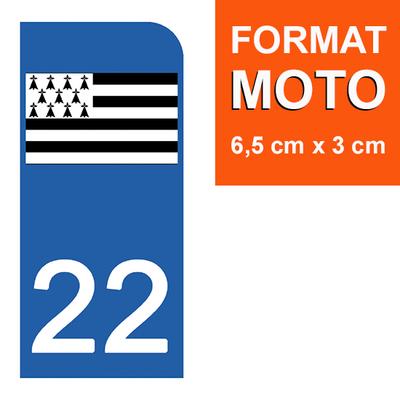 1 sticker pour plaque d'immatriculation MOTO , 22 COTE D'ARMOR