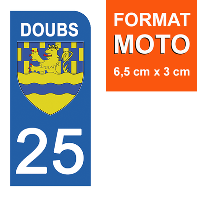 1 sticker pour plaque d'immatriculation MOTO , 25 DOUBS