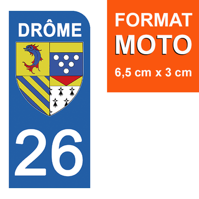 1 sticker pour plaque d'immatriculation MOTO , 26 DRÔME
