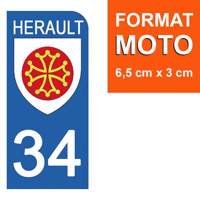1 sticker pour plaque d'immatriculation MOTO , 34 HERAULT