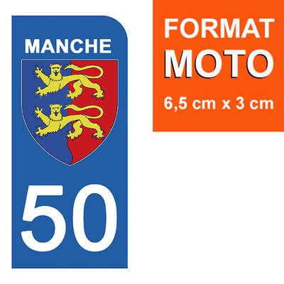1 sticker pour plaque d'immatriculation MOTO , 50 MANCHE