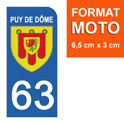 1 sticker pour plaque d'immatriculation MOTO , 63 PUY DE DOME