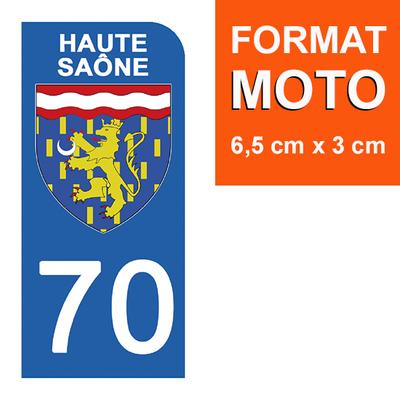 1 sticker pour plaque d'immatriculation MOTO , 70 HAUTE SAONE