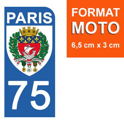 1 sticker pour plaque d'immatriculation MOTO , 75 PARIS