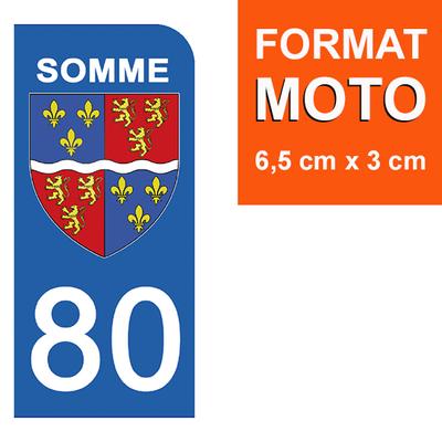1 sticker pour plaque d'immatriculation MOTO , 80 SOMME