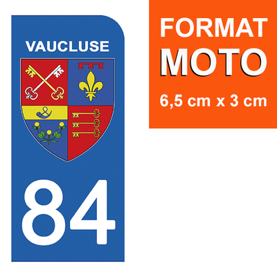 1 sticker pour plaque d'immatriculation MOTO , 84 VAUCLUSE