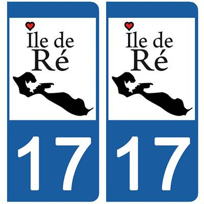 2 stickers pour plaque d'immatriculation pour Auto, 17 Ile de Ré