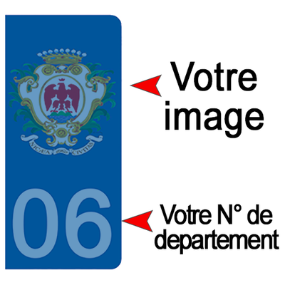 PERSONNALISEZ vos stickers pour plaque d'immatriculation AUTO, Bleu ou Noir