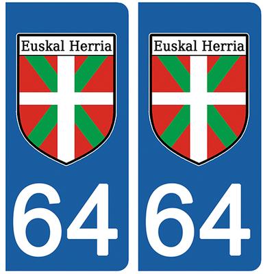 2 stickers pour plaque d'immatriculation pour Auto, 64 Pyrénées Atlantiques, pays Basque