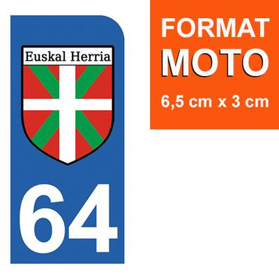 1 sticker pour plaque d'immatriculation MOTO, 64 PYRENEES ATLANTIQUES, Pays Basque,  ikurrina
