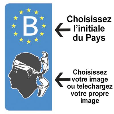 PERSONNALISEZ vos stickers pour plaque d'immatriculation AUTO, Euroband, Bleu ou Noir