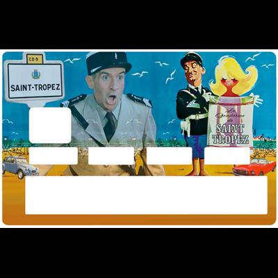 Sticker pour carte bancaire, le gendarme, hommage à Louis de Funes