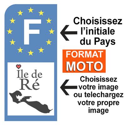 PERSONNALISEZ votre sticker pour plaque d'immatriculation MOTO, euroband, Bleu ou Noir