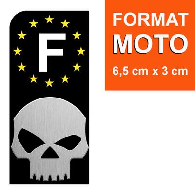 1 sticker pour plaque d'immatriculation MOTO EUROBAND, SKULL noir