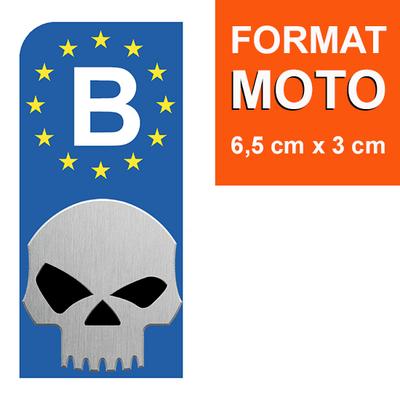 1 sticker pour plaque d'immatriculation MOTO, Belgique, SKULL